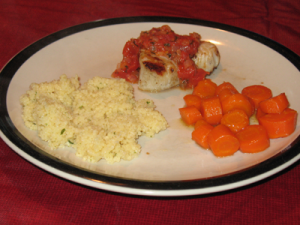 Dinner: grilled sea scallops with bruschetta, garlic & parmesan couscous, and glazed carrots