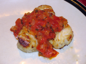 Grilled Scallops with Bruschetta