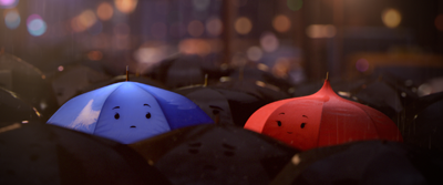 Blue and Red Umbrellas