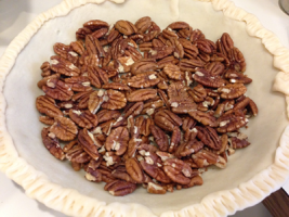 Bourbon Pecan Pie - just pecans and shell