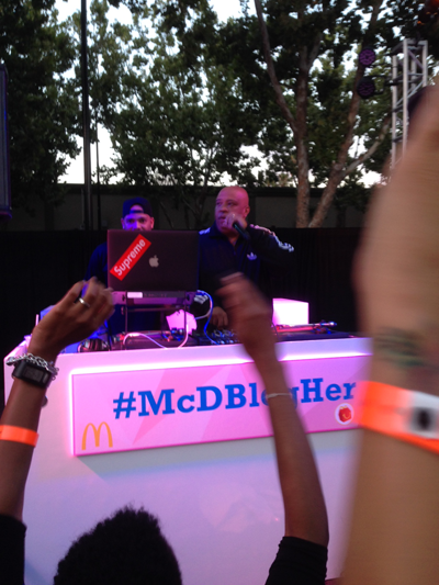 Reverend Run DJ's the closing party, sponsored by McDonalds